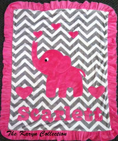 Chevron Meets Brights....Scarlett with hot pink elephant