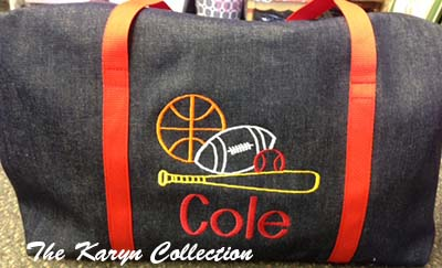 Cole's Denim Duffle Bag with Red Trim