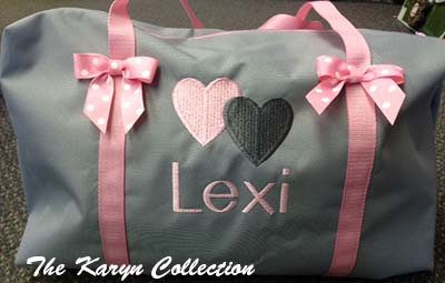 Gray Canvas Suitcase with Pink Trim