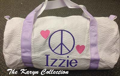 Izzie's Lavender Seersucker Duffle Bag