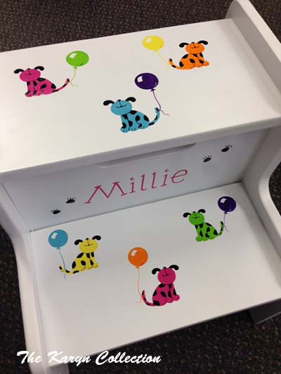 Millie's 2-Step Stool... our colorful dogs with balloons