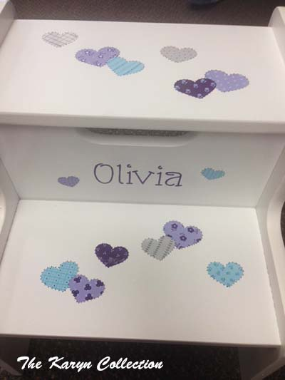 Olivia's 2-Step Stool in patchwork hearts
