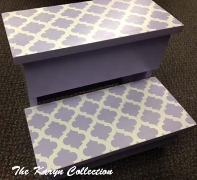 2-Step Stool - Lavender Trellis