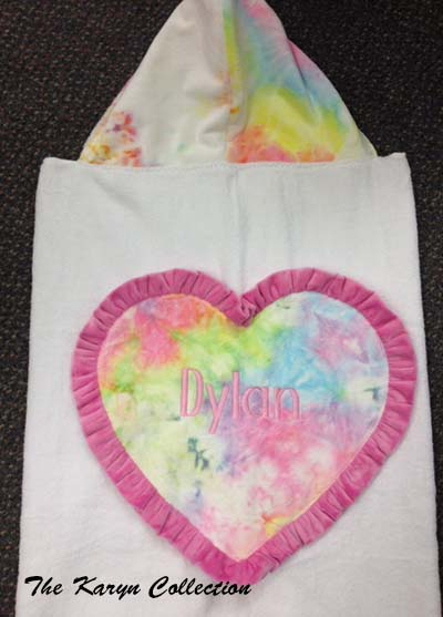 Tie-Dye with ruffled heart hooded toddler towel