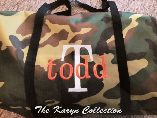Todd's Camo duffle with name and initial