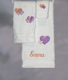 Pastel Hearts 3-Piece Towel Set