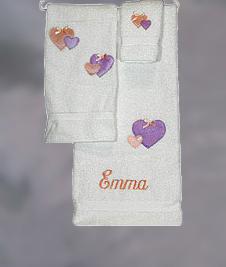 Pastel Hearts 3-Piece Towel Set