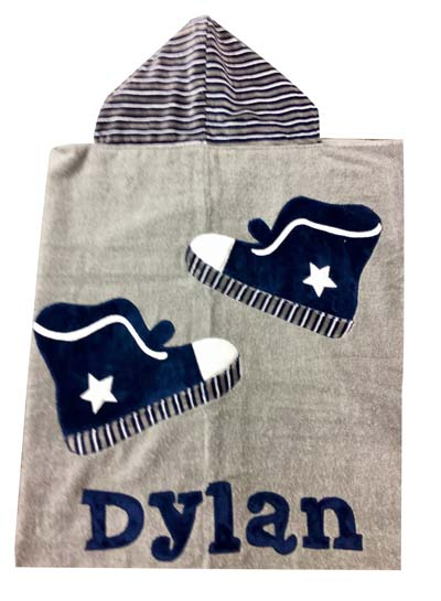Dylan's sneaker toddler towel in gray, navy and white!