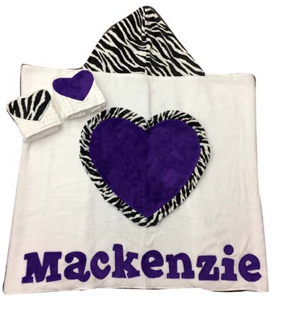 Mackenzie's toddler towel with matching burps