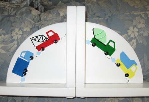 Delicate Painted Trucks Bookends