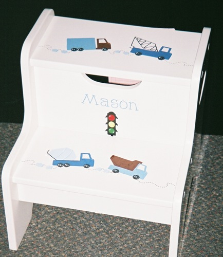 Mason's truck themed 2 step stool