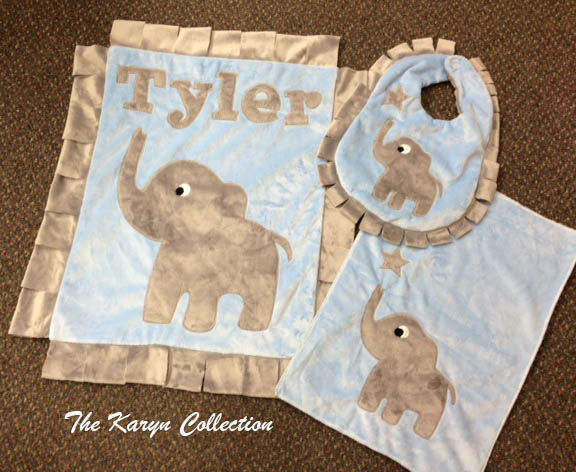 Three Piece Set - Bib, Burp, and Blankie
