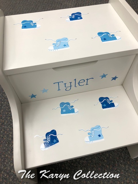 "Tyler""s Shades of Blue Sneakers Stool"