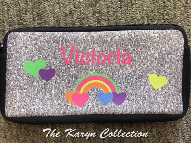 Victoria's rainbow & hearts pencil case