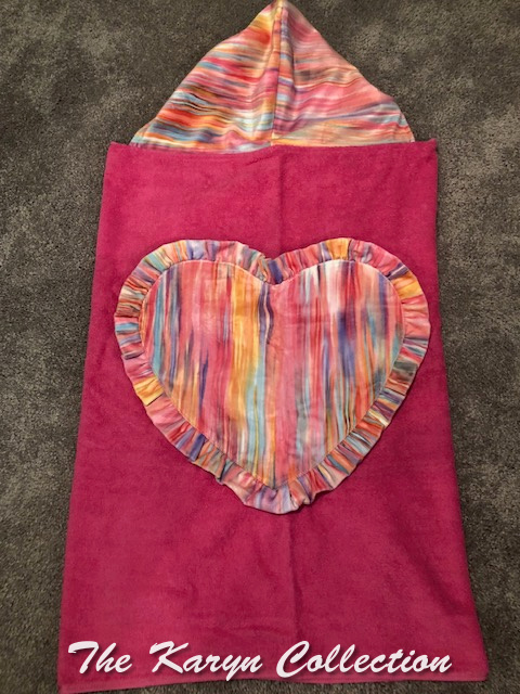 Hot pink towel with watercolor stripe! Brite and beautiful!!!