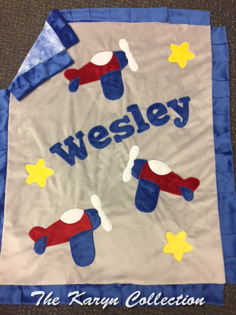 Westley's Planes Minky blanket...up, up and away!!!