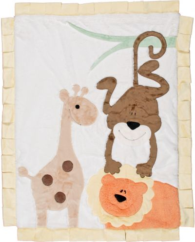 Tan Wild Animal Minky Blanket