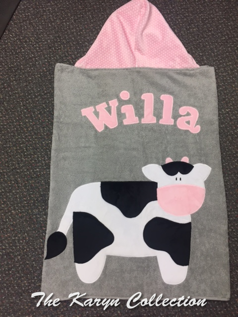 Willa's Toddler Cow Towel*** We have had to change the hood fabric discontinued by manuf.