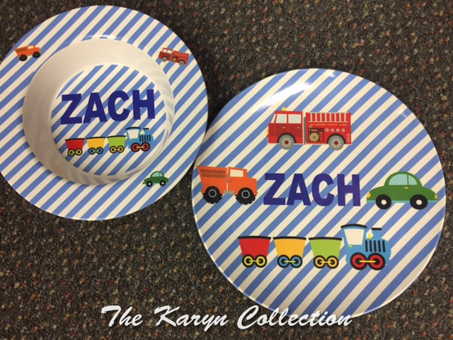 Zack's 2-Piece Set with Transportation in blue stripe background