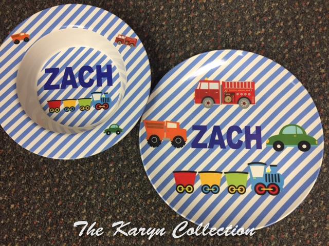 Zack's 2-Piece Set with Transportation in blue stripe background