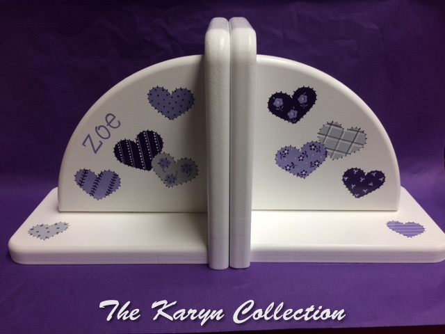 Zoe's lavender hearts bookends