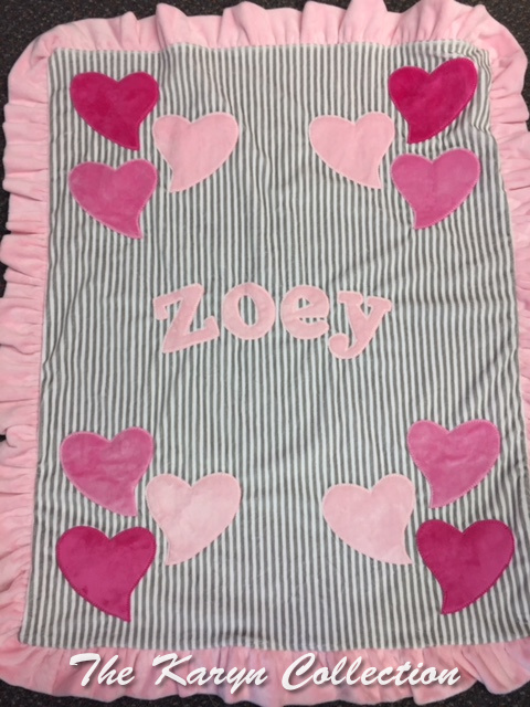 Zoey's Hearts Minky blanket but on BLACK and WHITE STRIPES!!!